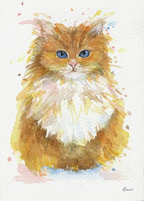 Watercolor Pet Portraits Wall Art - Painting - Persian Cat by Kathleen Wong
