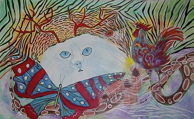 Art Print featuring the painting Persian Cat by Sima Amid Wewetzer