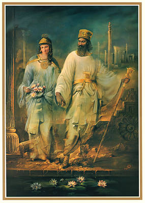King Of The Persians Painting - Persian Empire King And Queen by Mike Saadat