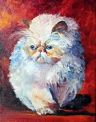 Painting - Persian Fluffy Cat by Christy  Freeman