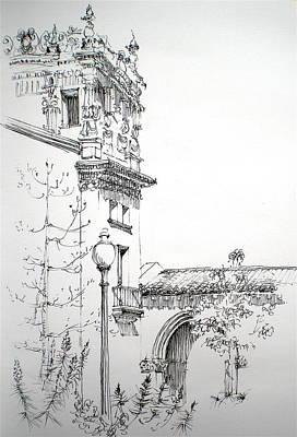 Balboa Drawing - Persian Garden In Balboa Park by Dominique Eichi