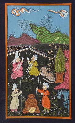 Antique Miniature Painting - Persian Islamic Painting Rare Illuminated Manuscript Indo Miniature Hunt Art by A K Mundra