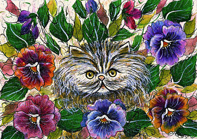 Painting - Persian Kitten With Pansies by Natalie Holland
