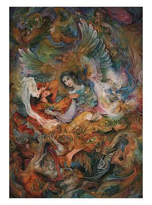 Persian Miniature Painting - Persian  Miniature Oil Painting Dr27 by Salma