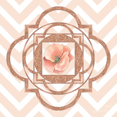 Tribal Art Painting - Persian Poppy, Rose Gold Quatrefoil, Chevron by Tina Lavoie