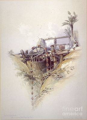 Water Wheel Painting - Persian Water Wheel Used For Irrigation by MotionAge Designs