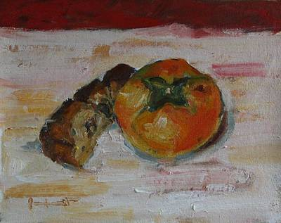 Painting - Persimmon And Cake by Owen Hunt