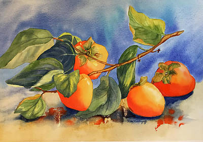 Painting - Persimmons by Hilda Vandergriff