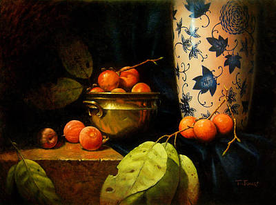 Classical Realism Painting - Persimmons by Timothy Jones