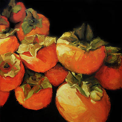 Painting - Persimmons1 by Leslie Rock