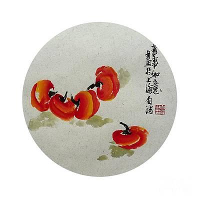 Chinese Market Painting - Persimon - Round by Birgit Moldenhauer
