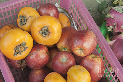 Persimon Photograph - Persimons And Apples by D R
