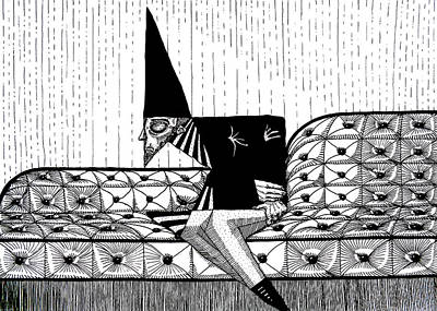 Goblin Drawing - Person With Fool's Cap Resting In Sofa In Black And White Original Pen Art By Rune Larsen by Rune Larsen