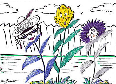 Drawing - Personality Garden by Iris Gelbart