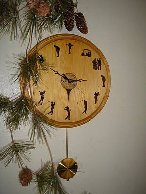 Pyrography - Personalized Golfer's Clock by Dakota Sage