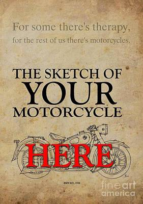 Personalized Drawing - Personalized Poster, The Sketch Of Your Motorcycleand Quote by Pablo Franchi