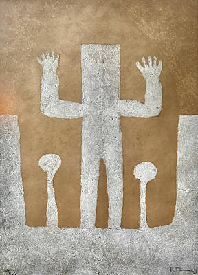 Bling Mixed Media - Personnage With Two Trees by Rufino Tamayo
