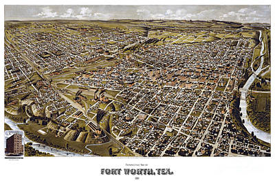 Old Map Painting - Perspective Map Of Fort Worth, Texas - 1891 by Pablo Romero
