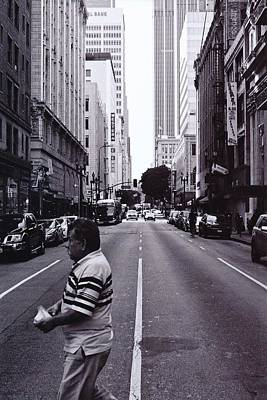 Down Town Los Angeles Photograph - Perspective Of A Man by David Ortega