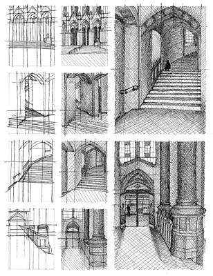 Seattle Drawing - Perspective Process by Jessica Ettinger