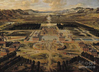 Aerial Perspective Painting - Perspective View Of The Chateau Gardens And Park Of Versailles by Pierre Patel