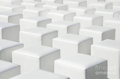 Perspective White Geometric Cube Outdoor Chairs Background Original