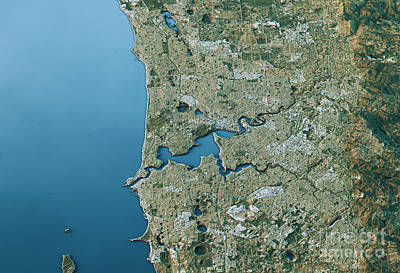 Map Digital Art - Perth 3d Landscape View South-north Natural Color by Frank Ramspott