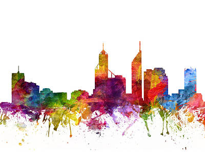 Skylines Drawings - Perth Australia Cityscape 06 by Aged Pixel