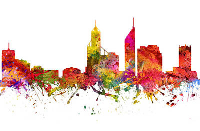 Skylines Drawings - Perth Australia Cityscape 08 by Aged Pixel
