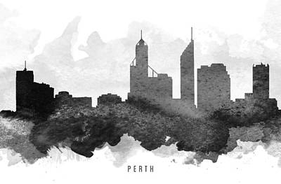 Perth Painting - Perth Cityscape 11 by Aged Pixel