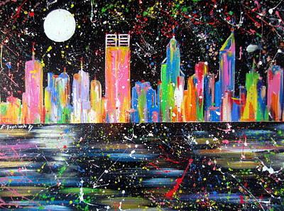 Painting - Perth Skyline Alla Pollock  by Roberto Gagliardi