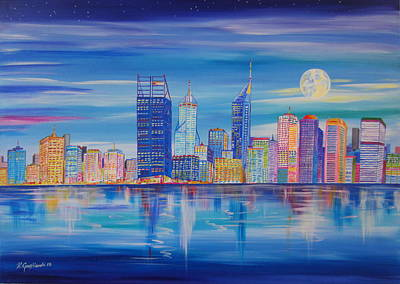 Painting - Perth Skyline At Evening  by Roberto Gagliardi
