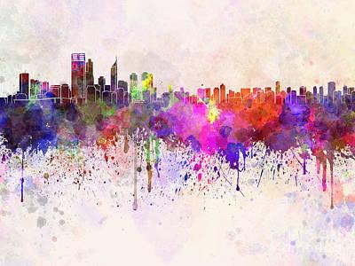 Oceania Digital Art - Perth Skyline In Watercolor Background by Pablo Romero