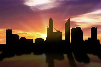 Perth Digital Art - Perth Skyline Sunset Aupe22 by Aged Pixel