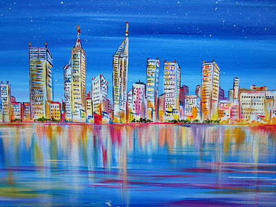 Painting - Perth Skyscrapers Skyline On The Swan River by Roberto Gagliardi