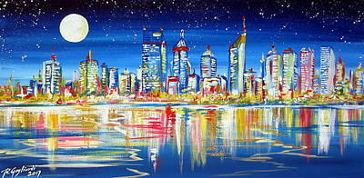 Painting - Perth Under The Full Moon by Roberto Gagliardi