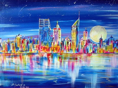 Painting - Perth Under The Moon Reflections On The Swan River by Roberto Gagliardi