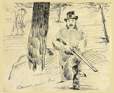 Drawing - Pertuiset The Lion Hunter by Edouard Manet