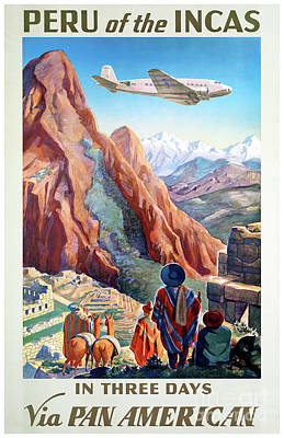 Mixed Media - Peru Incas Vintage Travel Poster Restored by Carsten Reisinger