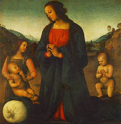 Madonna Digital Art - Perugino Pietro Madonna An Angel And Little St John Adoring The Child  Madonna Del Sacco    by Pietro Perugino