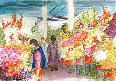 Gladiolas Mixed Media - Peruvian Flower Market by Nancy Brennand