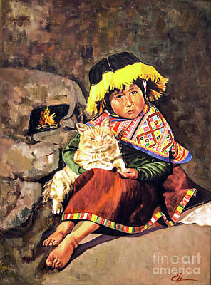 Painting - Peruvian Girl With Cat by Ekaterina Stoyanova