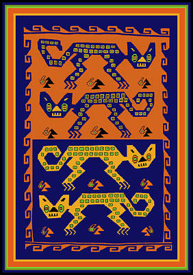 Digital Art - Peruvian Inca Tribal Cats  by Vagabond Folk Art - Virginia Vivier