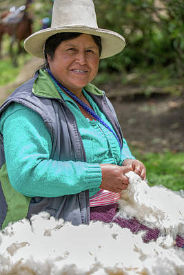 Digital Art - Peruvian Lady With Fleece At Kuelap by Carol Ailles