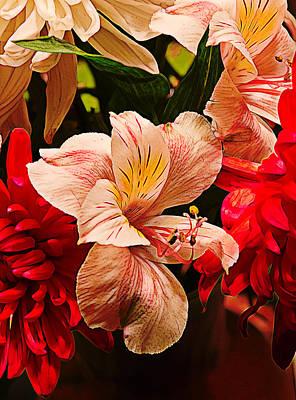 Peruvian Lily Grain Art Print by Bill Tiepelman