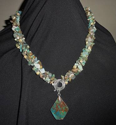 Sterling Silver Jewelry - Peruvian Opal And Turquoise Necklace by Karen Matthews