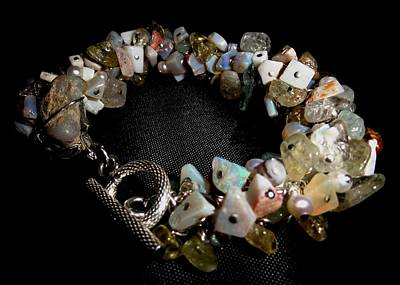 Wire Wrap Bracelet Jewelry - peruvian opal nugget, aquamarine, cultured pearl Bracelet by Karen Matthews