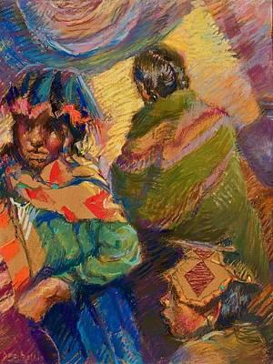 Peruvian Village Scene Art Print by Ellen Dreibelbis