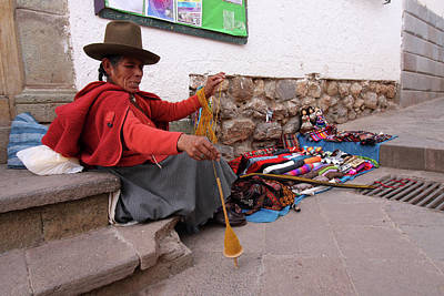 Hand-weaving Photograph - Peruvian Weaver by Aidan Moran