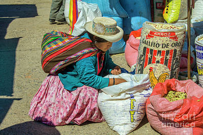 Photograph - Peruvian Woman Looking At Rice At Market  by Patricia Hofmeester